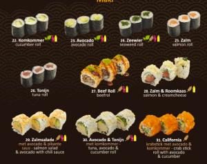 menu glutenvrije sushi